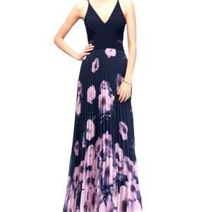 XSCAPE size 16 stunning navy and pink floral maxi